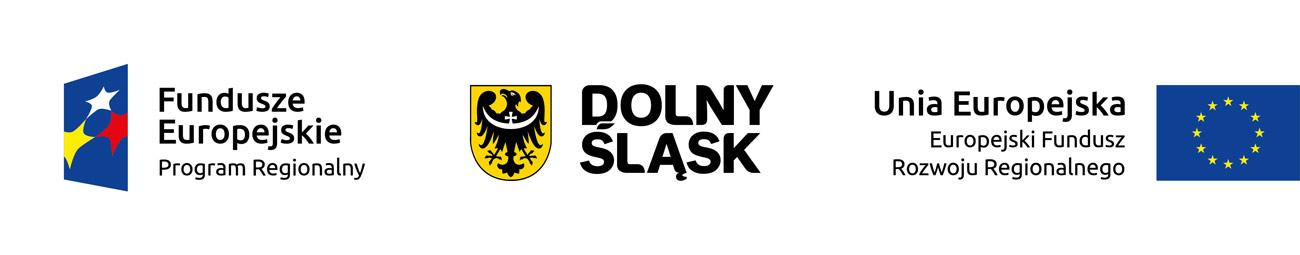 Loga: Fundusze europejskiej, Dolny Śląsk i flaga Unii europejskiej
